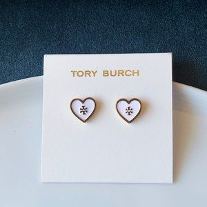 Tory Burch logo white heart earrings